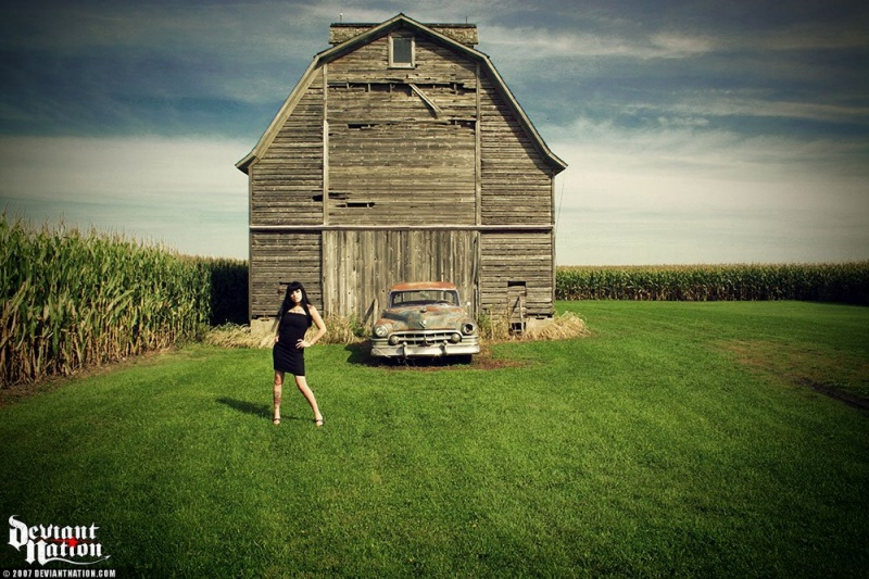 Female model photo shoot of Jessie-Lynne by Smashbase in Some barn in middle of no where Illinois