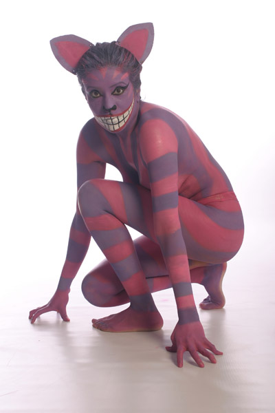 Nottingham, UK. www.eventsartists.com Jan 28, 2009 Photographer: Claire Louise Shipman Alice In Wounderland. Body Painter: Victoria Howard