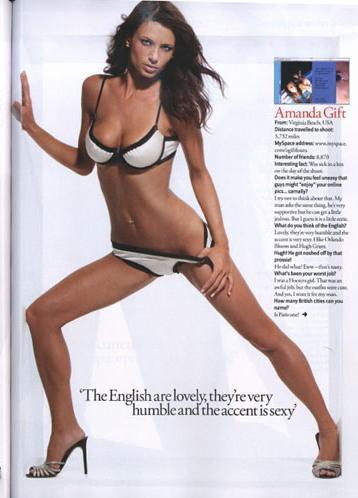 London, England Feb 04, 2009 FHM Magazine, Amanda Gift FHM UK layout