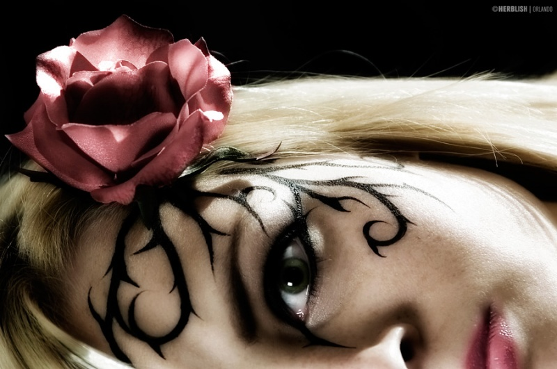 Herbelicious Studios Feb 10, 2009 ©2009 Herbie Martin/Pashur A Rose for Valentine (Face painting and concept by Pashur)