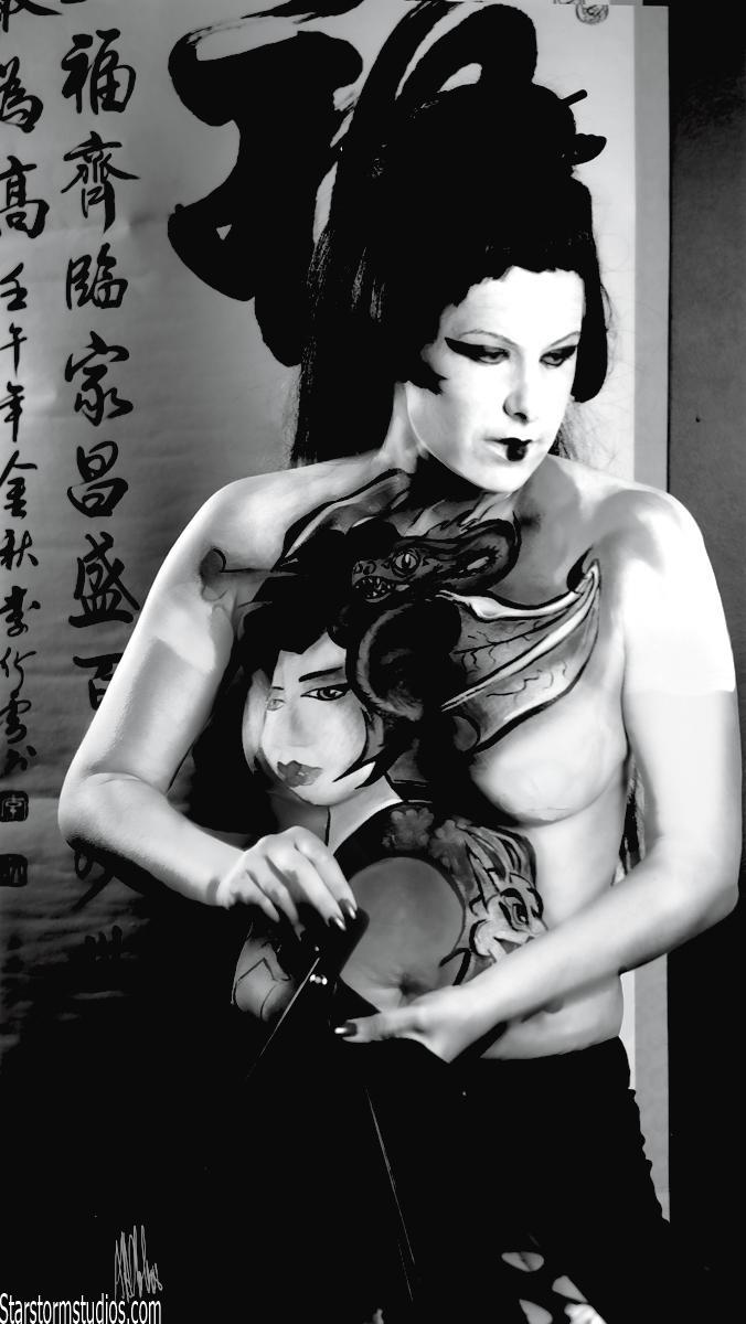 London/On  Feb 11, 2009 Manas body art  The model Carrie Wright --Geisha theme /the photographer Anna Otok