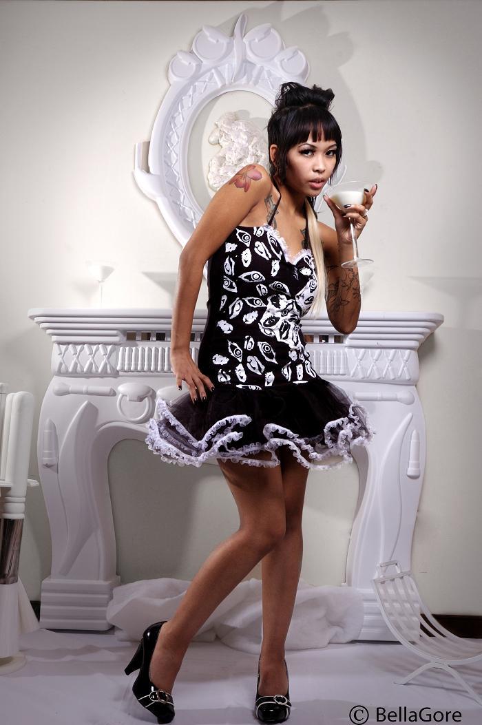 Female model photo shoot of BellaGore and Ms Jess Hawk in Richmond,Va, clothing designed by Rockin Bones