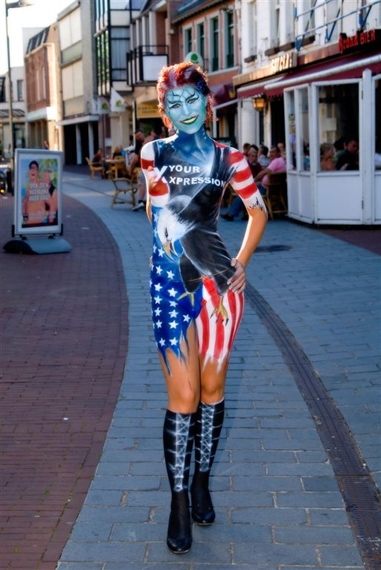 The Netherlands Feb 20, 2009 Bodypaint by amazing artist Bert Verstappen