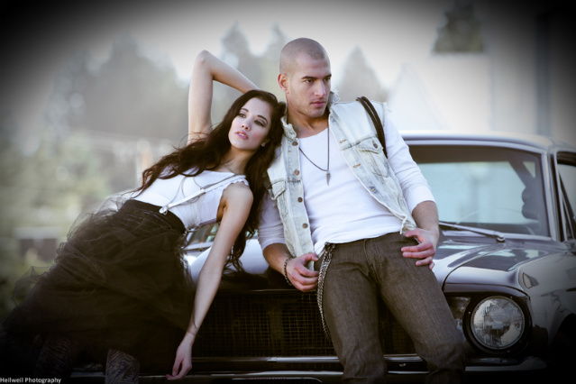 Female and Male model photo shoot of MichelleGreen and James Flu by Nicholas Heilweil in Mukiltio, Wa, hair styled by jessee skittrall, makeup by Sheila Birashk MUA, clothing designed by Logan C Neitzel