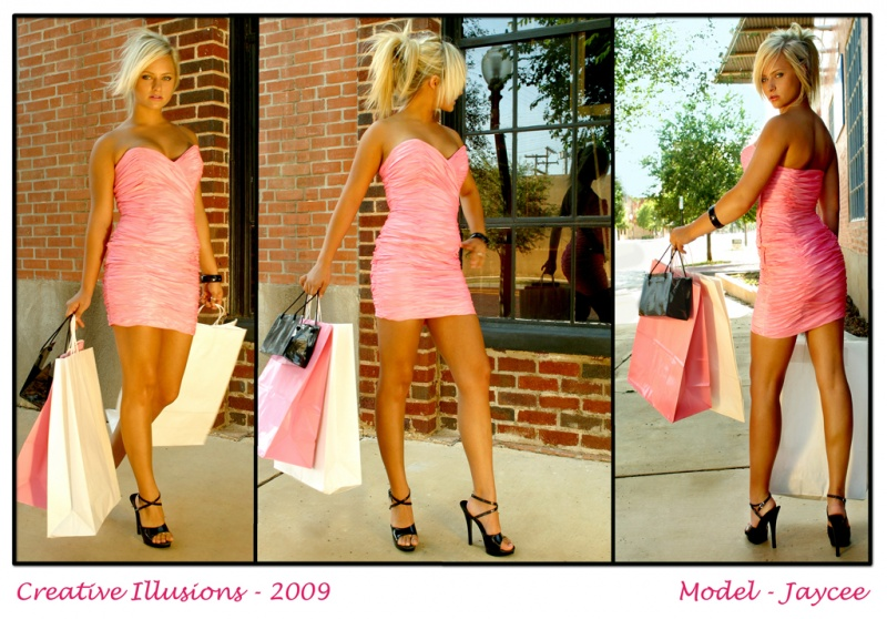 On the street in Lubbock, Texas Mar 07, 2009 Creative Illusions - 2009 Jaycee shopping - Shot with natural light and a reflector. Theres just something magical about a blond in pink.....especially Jaycee!!!