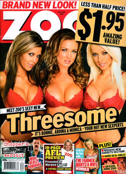 Australia Apr 04, 2009 Zoo Weekly AUstralia My first Zoo Cover!!  (all new look the reason its discounted lol)