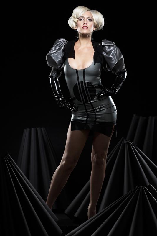 Apr 15, 2009 Latex deco dress + plastic/silk organza vest.