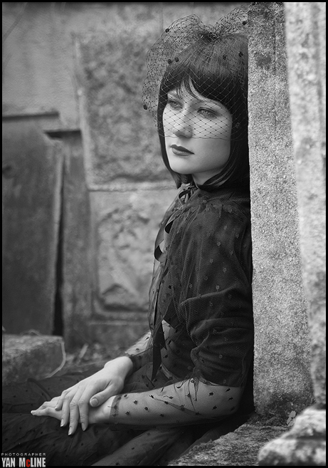 Female model photo shoot of Tama ra in cemetery