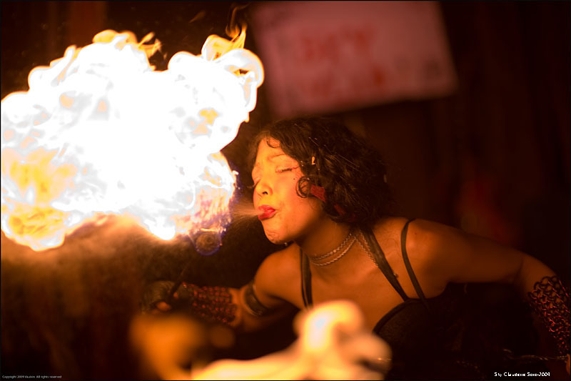 The Slipper Room NYC -2009 May 02, 2009 Photographer © Vautrin-2009 Sky Claudette Soto -Fire Breathing