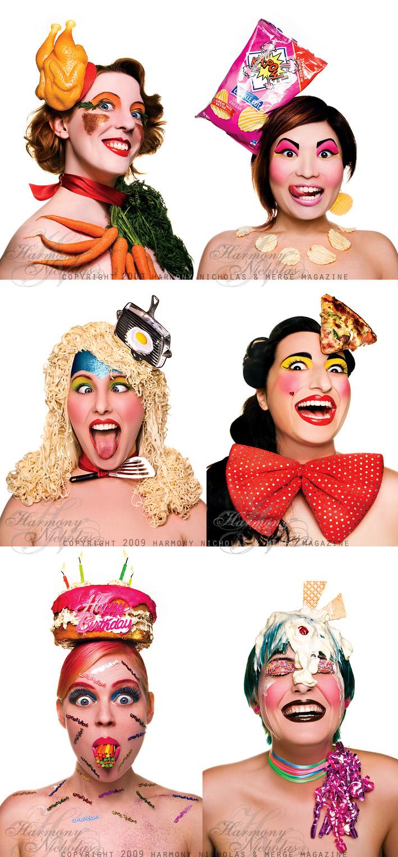 Urtext Studios, Adelaide May 04, 2009 Harmony Nicholas & MERGE Magazine 2009 Junk Food Nation for MERGE Magazine May 09 - concept/styling/hair/mua by Stephanie Mountzouris w/ Proof Cosmetics. Models [L-R]: Rose, Jackie, Bianca, Annalisa, Jessie & Moira