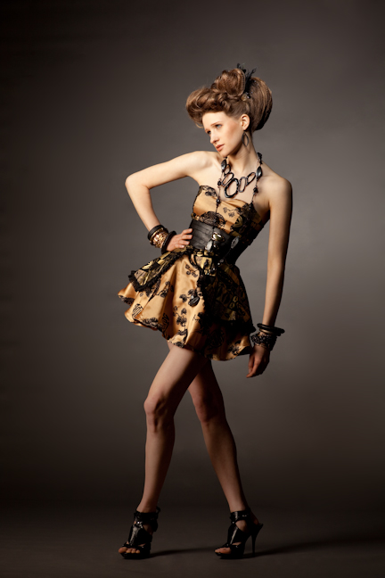 May 16, 2009 chinese golden silk and african black and gold printed dress:$400