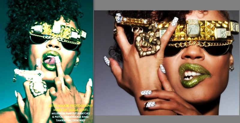 NYC Jun 17, 2009 PHOTO: KEITH MAJOR MAKE-UP: JIGGA JEWEL STYLING: TAMIKKO ACCESSORIES PIMP TUT AVIATORS N LOVE KNUCKLE PISTOL RING. GUCCI ARCRYLIC TIPS: THE HOOD.