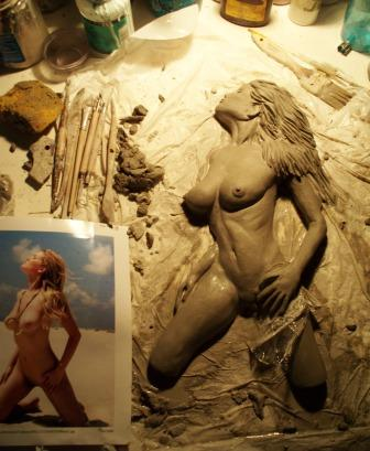 Palm Desert Studio Jun 18, 2009 VisualVenturi and Liz Ashley Carving in progress from model on MM  15