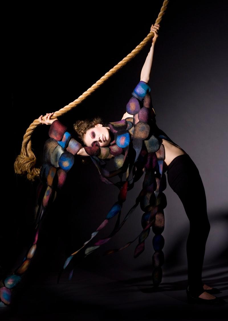 Female model photo shoot of Harlequin Feltworks in San Francisco