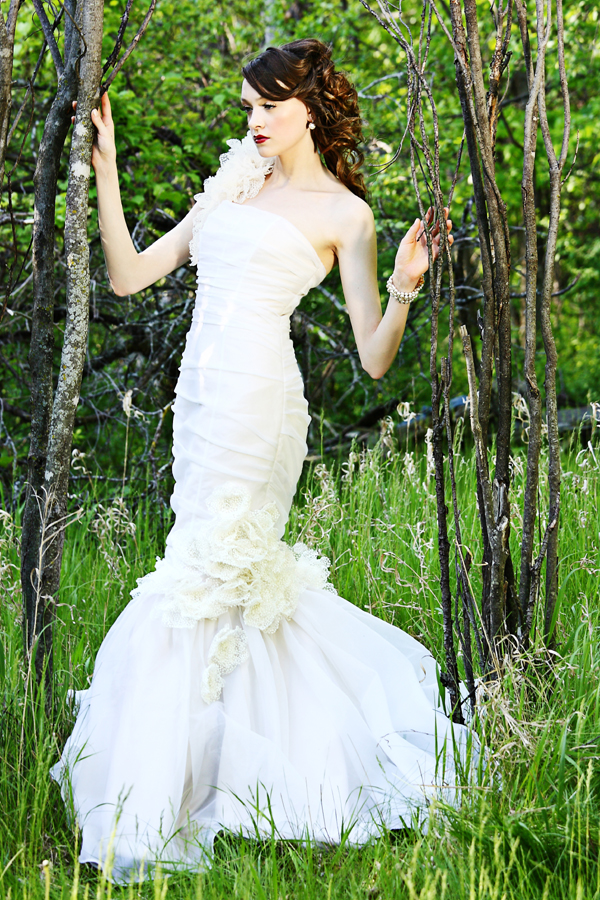 Jun 20, 2009 sillk organza and satin gown with hand made lace flowers