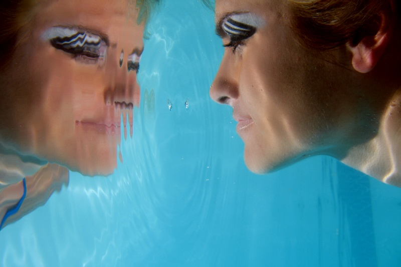 Female model photo shoot of Ashley Reese by Ken Myers Photography in Private pool, Keller, Tx., makeup by SR makeup