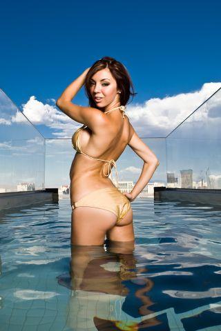 Female model photo shoot of Natalia Morris in Hugh Hefner Villa