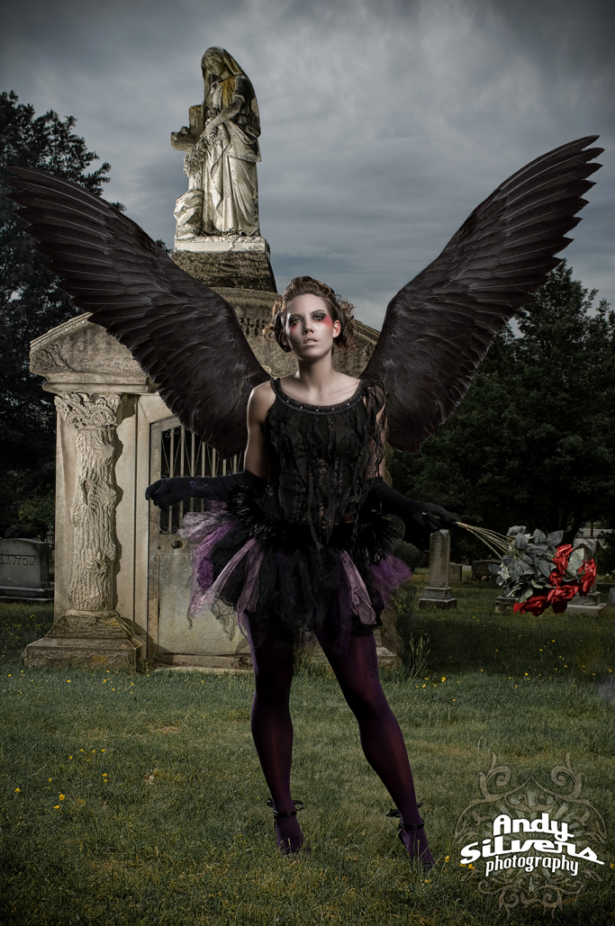Graveyard, NC Jul 29, 2009 Andy Silvers Phototography, MUA Christine Geiger Black Angel