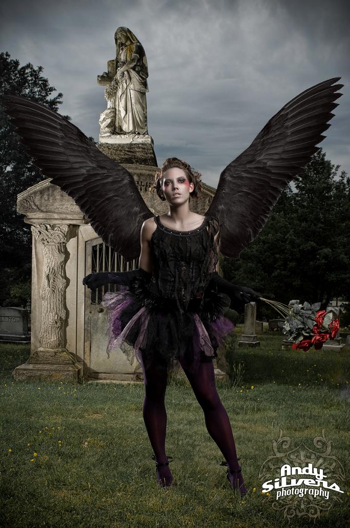Graveyard, NC Jul 29, 2009 Andy Silvers Phototography, MUA Christine Geiger Black Angel