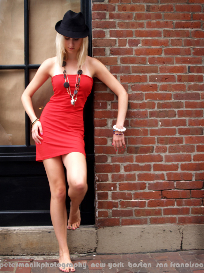 Beacon Hill, Boston Aug 22, 2009 Peter Manik Red dress with bare foot