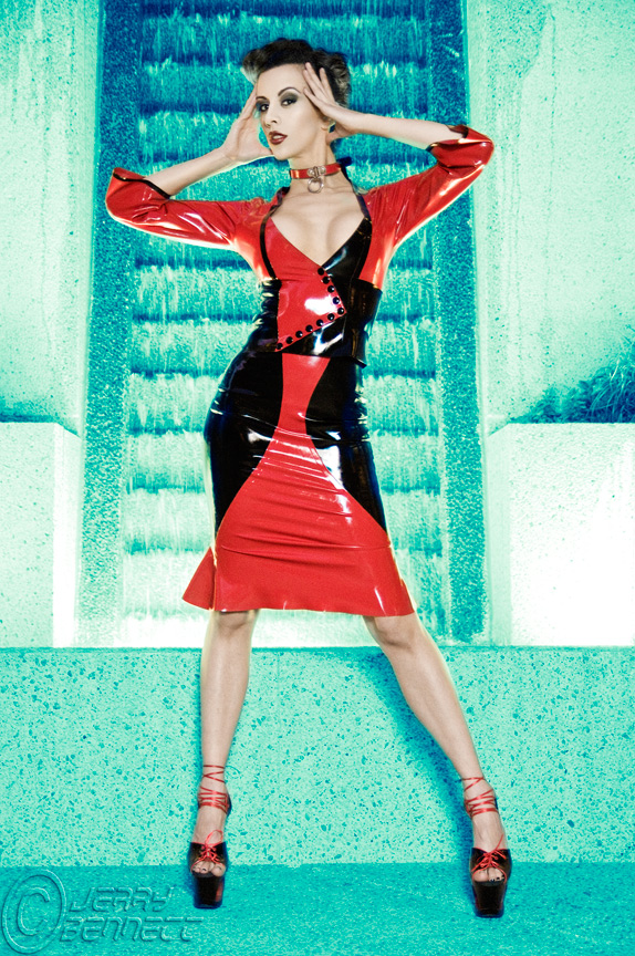 Aug 31, 2009 photo by jerry bennett. latex by fierce couture mua alayna marie kerri taylor red and black latex dress