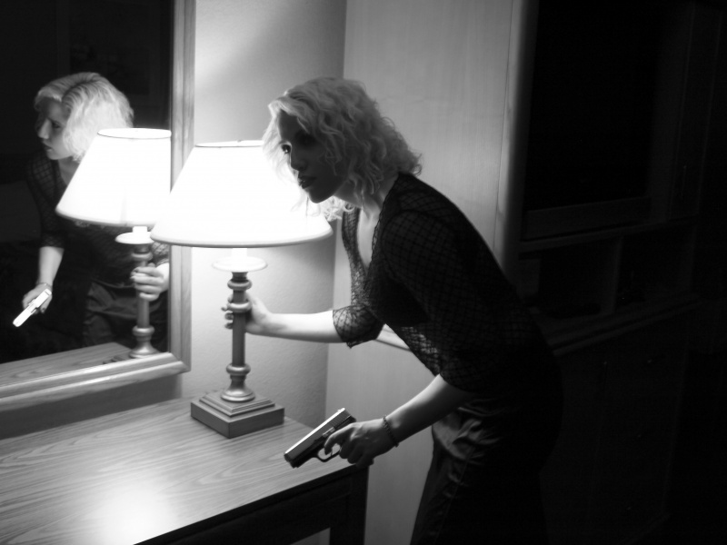 In a hotel room w/Selinas very real handgun, so not a prop. Sep 01, 2009 Tom Linkens Hiding out - Concept of Day winner 2/4/11