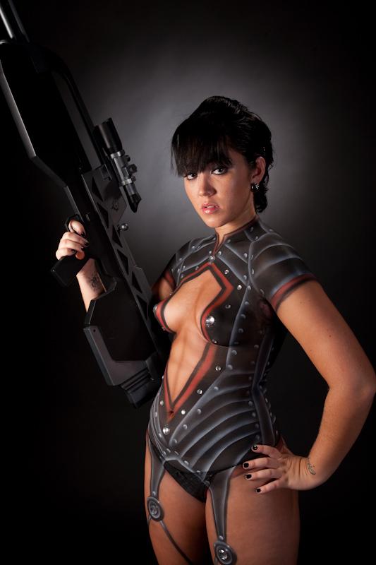Miami Sep 07, 2009 Jessie Melero Cyber Girl with Halo battle rifle