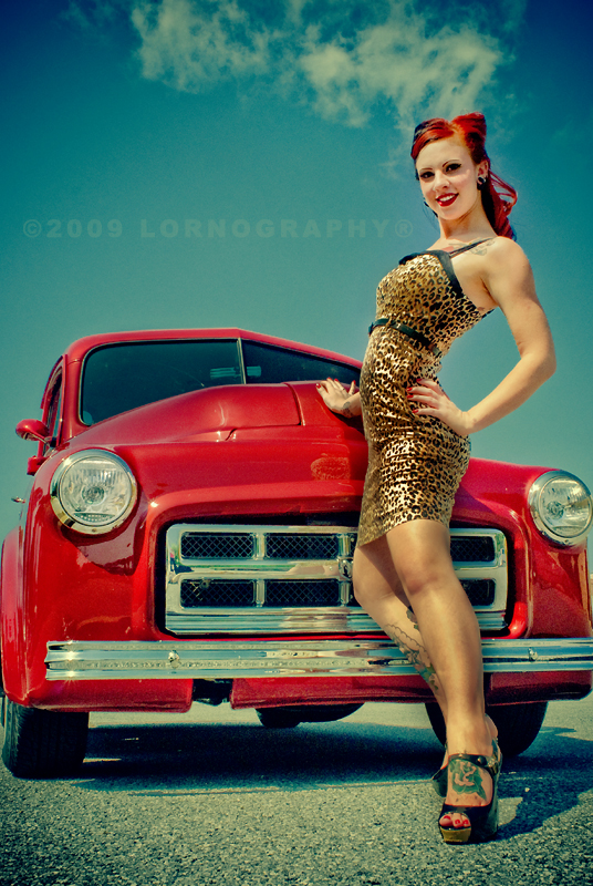 Female model photo shoot of Lornography and Ruby Von Vanity in Wheels of Time Car Show