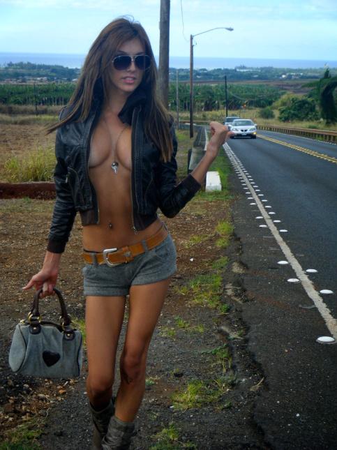 Female model photo shoot of Heidi Kaae in North Shore, Oahu, on the curvey road to Haleiwa