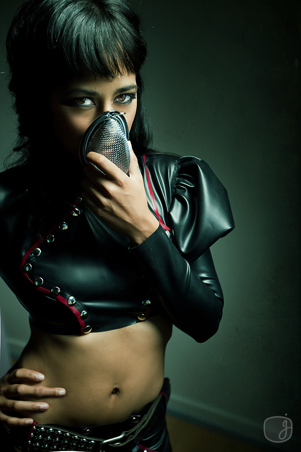 Sep 24, 2009 Jessica Watson Photography Black and Maroon Latex Snap front Military top and skirt