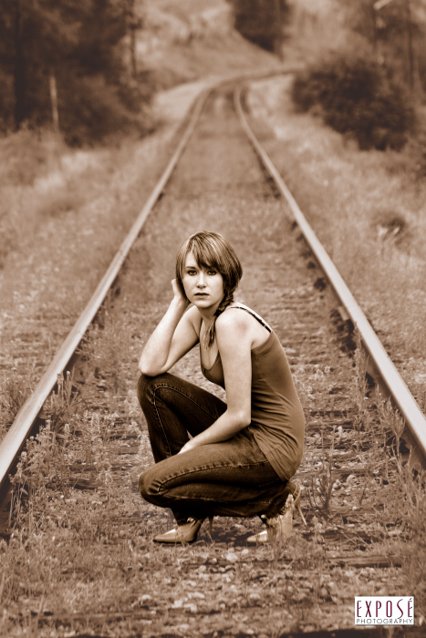 Vernon, British Columbia, Canada Sep 26, 2009 Exposé Photography Georgie on the Rails