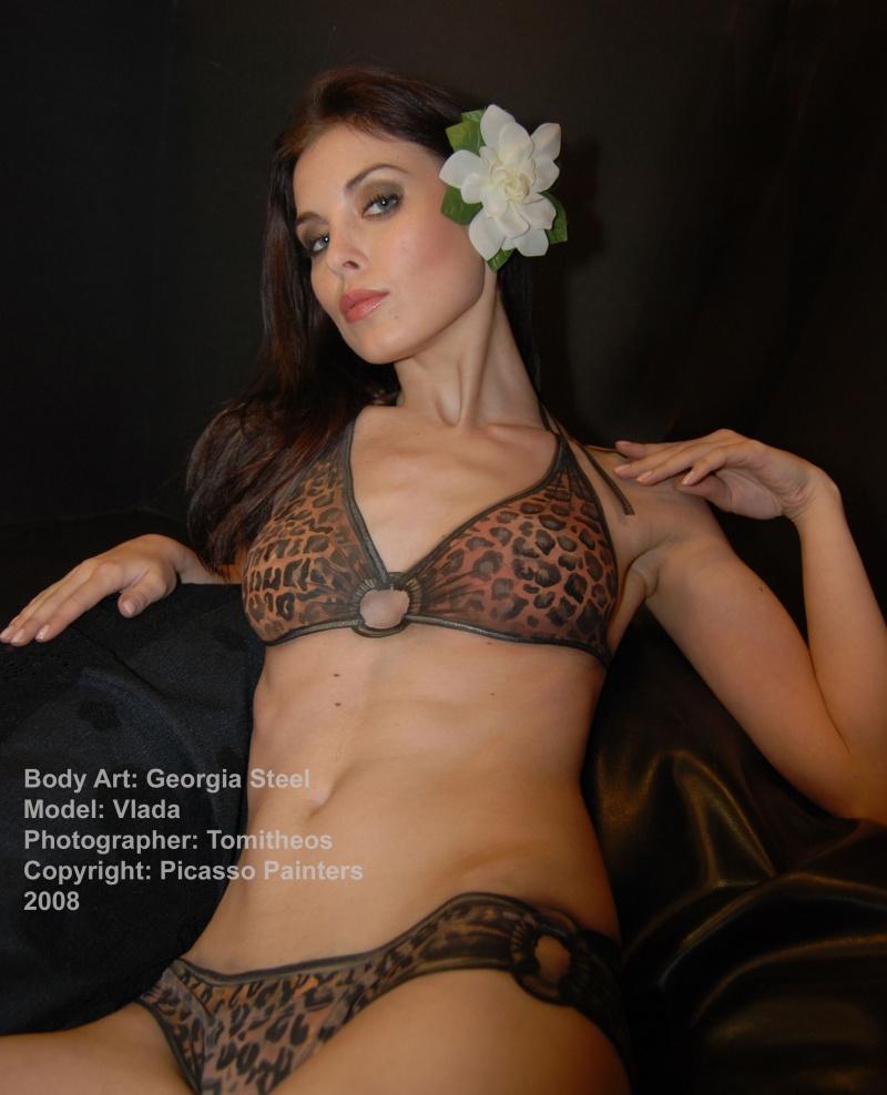 Toronto Canada Oct 15, 2009 Georgia Steel/Picasso Painters Body Painted Leopard Bikini