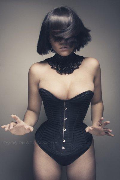 Nov 14, 2009 RVDS Tessa wearing the satin/matt horizontal stripe overbust corset.