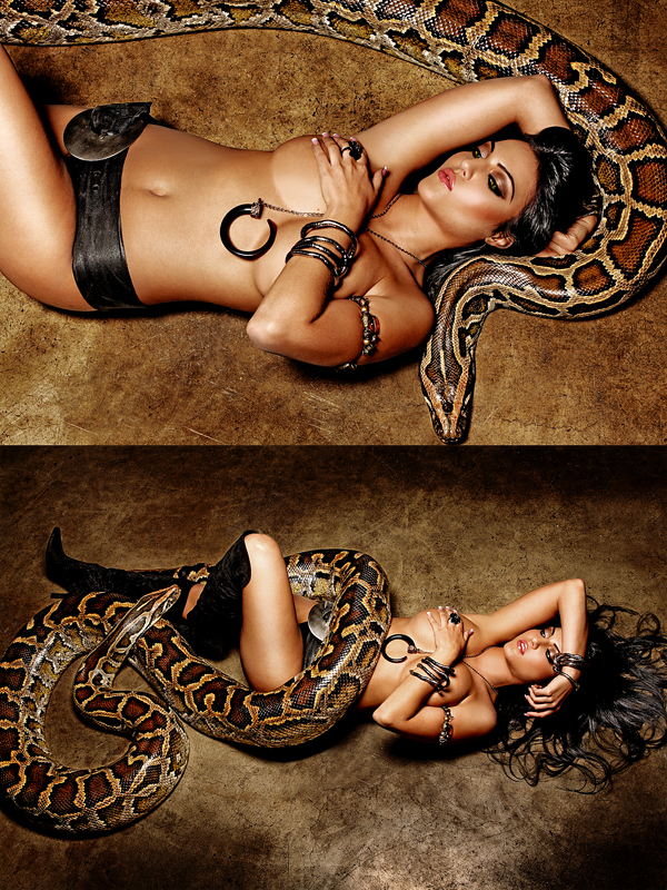 Behind The Scenes Video of this Photo Shoot on YouTube: http://www.youtube.com/watch?v=03Y93aoikwk Nov 26, 2009 www.ArthurStJohn.com Model: Flora, Hair Stylist & Make-up Artist: Grace Kim (THIS IS AN ACTUAL SNAKE - - 20 FOOT LONG PYTHON - Watch the Behind The Scenes Video)