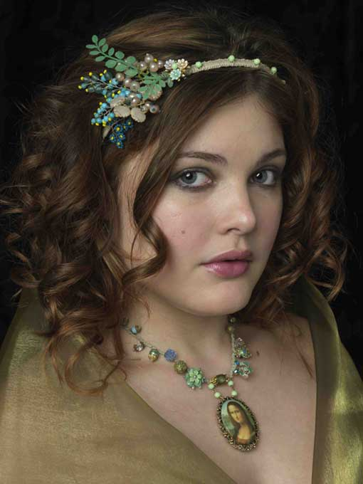 London Nov 27, 2009 Jose Lasheras (photography) Handmade headband and necklace comprising vintage flowers and neads and trinkets  woven into hadband and necklace