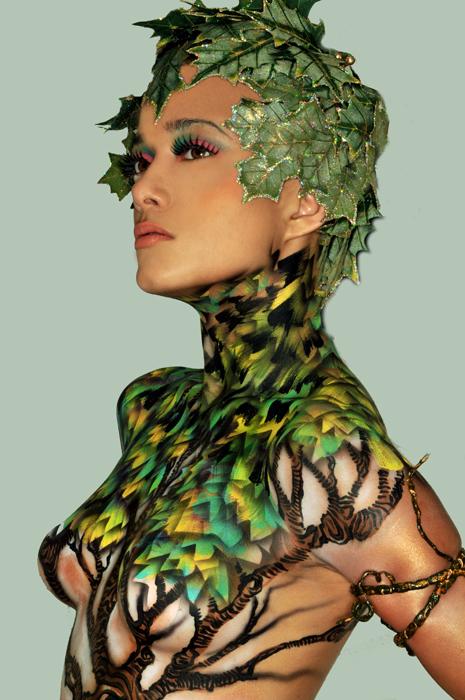 Dec 06, 2009 Derrick Little (bodyartist) Jo Lance (photographer) Yeslian in Leaves