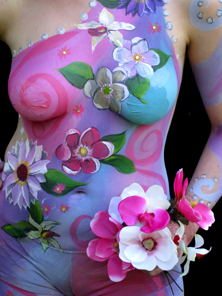 Santa Rosa, Ca Dec 26, 2009 Eye Candy Body Painting Floral fantasy Body Painting