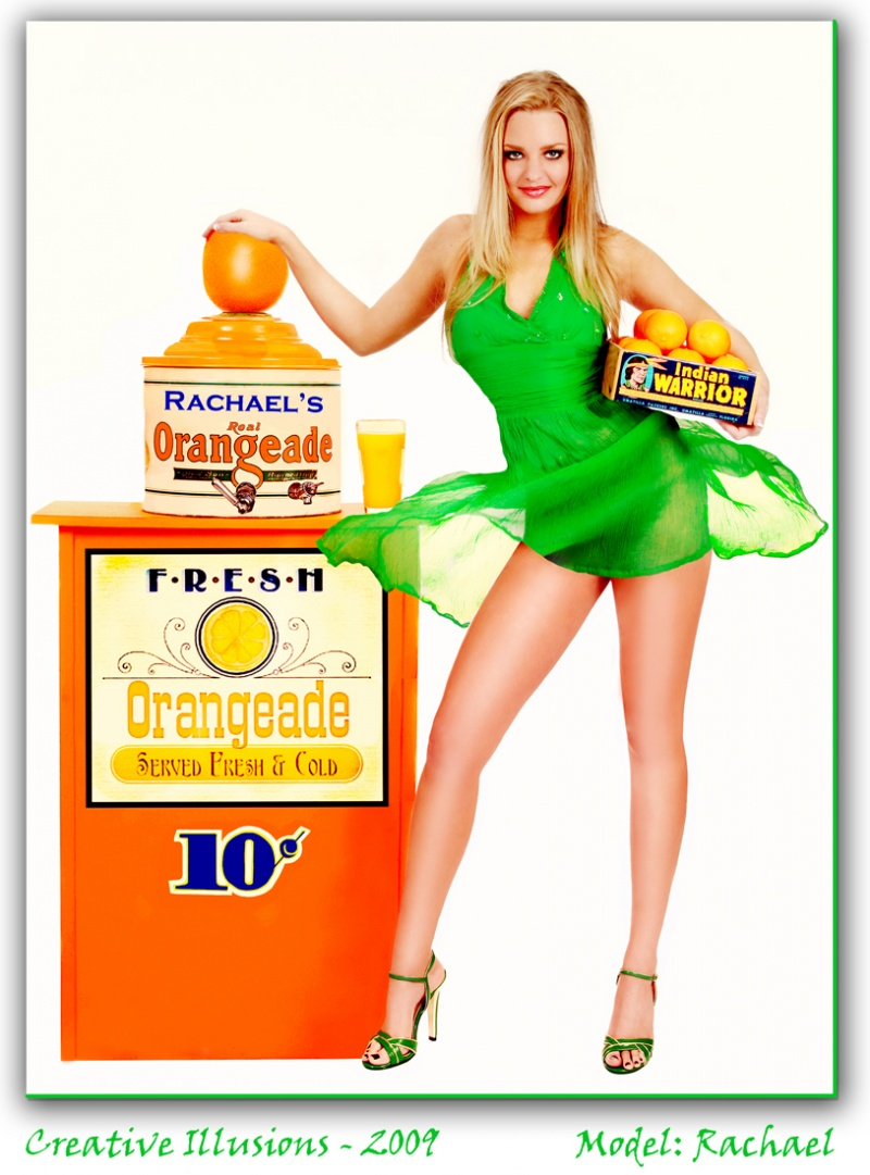 Dallas, Texas Jan 05, 2010 Creative Illusions  - 2009 Rachaels Summer Orangeade Stand  - I had this idea for a long time and had originally planned to use another model.  But, when I saw Rachael, I knew she was perfect for the image and exactly what Id envisioned.