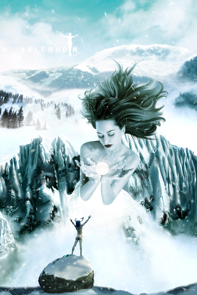 The mountains Jan 06, 2010 2009 by Valerhon. Original figure reference by Jessica of Faestock Snow Goddess