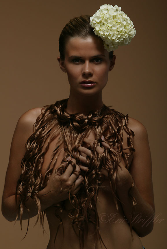 NYC Studio Jan 20, 2010 ©Eric Striffler Photography Beauty Editorial with Flowers