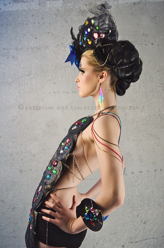 Female model photo shoot of Abigail Hayden by photoTOM, body painted by Sarah Terry Body Artist
