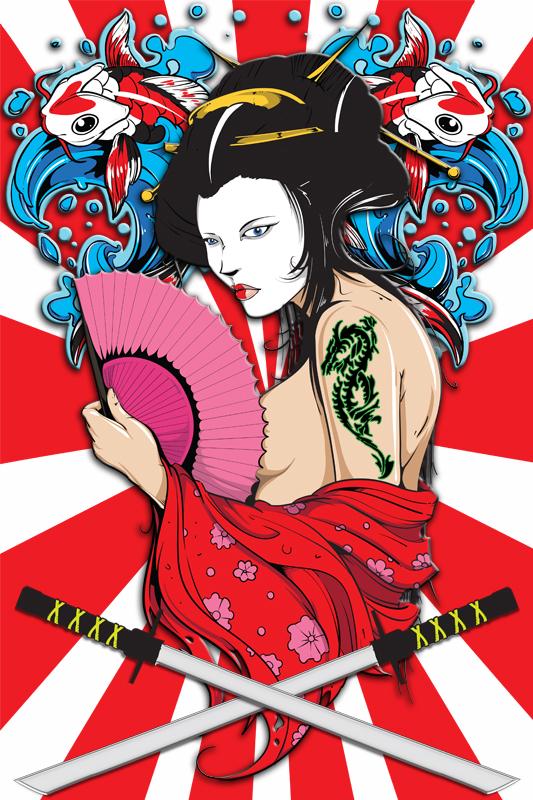 Feb 01, 2010 SK8 DOG Sexy Geisha Poster & Tee