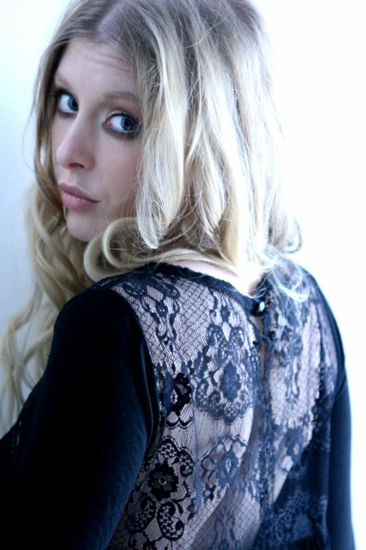 London Feb 05, 2010 Susanna Larsson Black lace dress