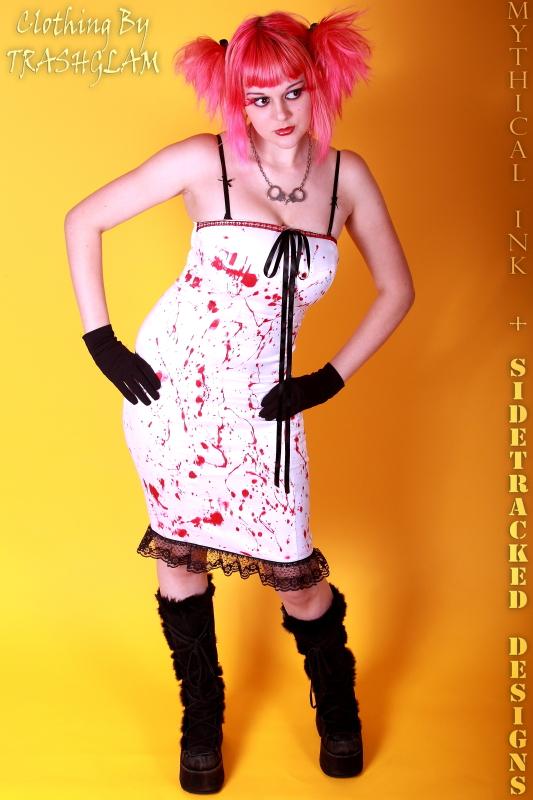 Female model photo shoot of Katia LaToxique by Sidetracked Designs, clothing designed by TRASHGLAM