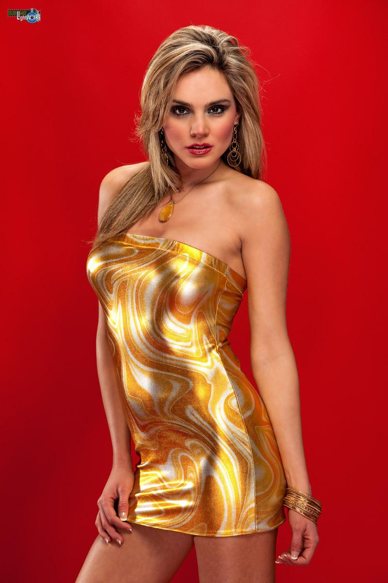 Roberts studio Feb 09, 2010 Robert Fousch Gold Metallic Swirl Mini Dress