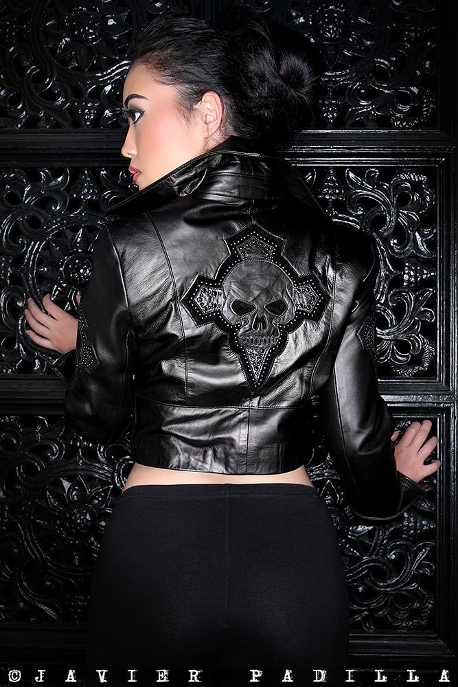San Francisco California  Feb 27, 2010 West Coast Leather International 2009, photo Javier  Paddila  Devil Princess Rock Stars cropped Motto, black on black on black Leather