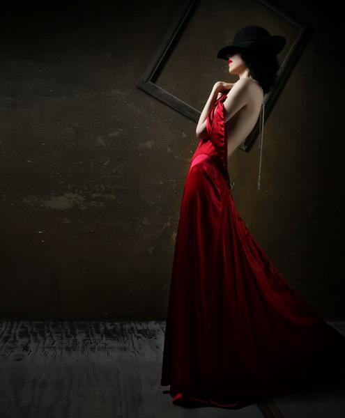 my studio Costa Mesa CA  Mar 02, 2010 phillip ritchie  Designer gowns with model Sherri  makeup artist  Alecks