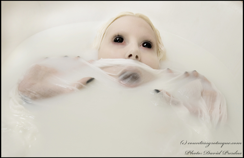 Mar 03, 2010 Photo: David Purdue. Model, hair, make-up and concept- me eyes are contact lenses, bath is milk.