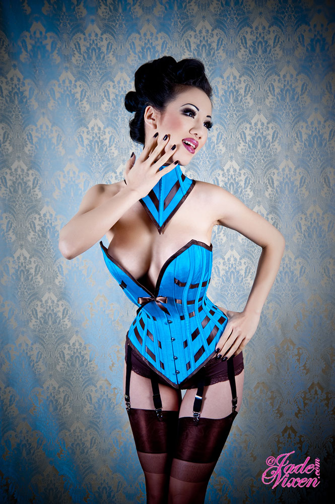 Female model photo shoot of Jade Vixen, clothing designed by Electra Designs Corsets