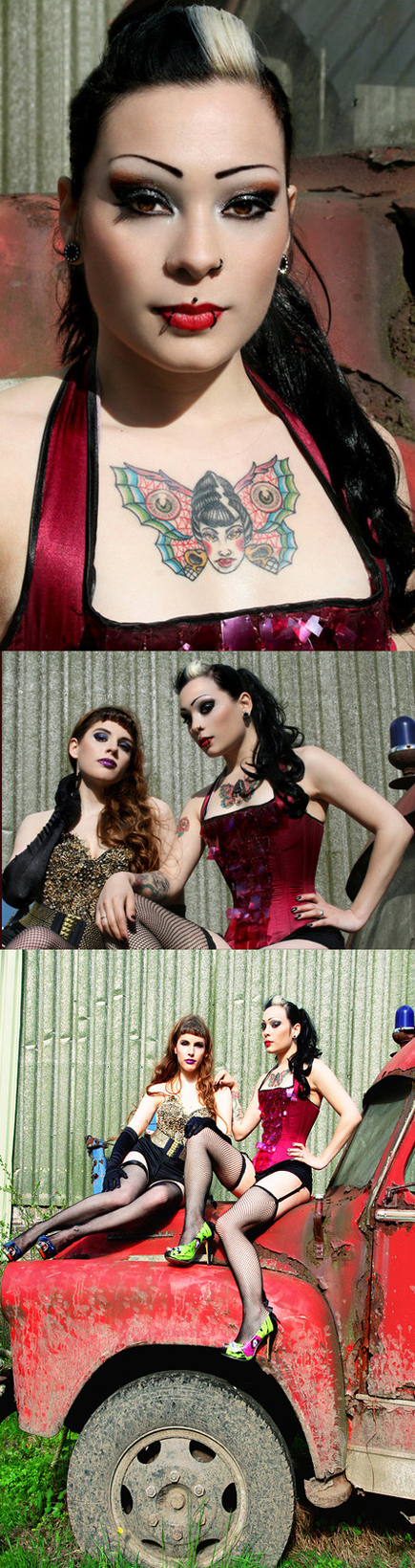 Female model photo shoot of Dana Dead Girl and Liesaatje by MustangMaryPhotography in ADM Amsterdam, makeup by Cmakeup